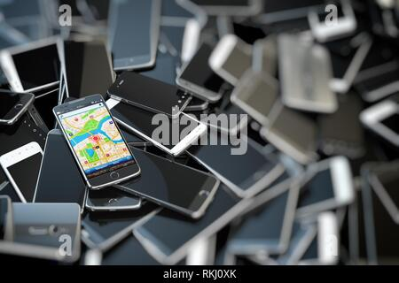Choose mobile phone. Heap of the different smartphones and one with gps application on the screen. Modern technology concept background. 3d - Stock Photo
