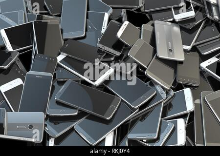 Heap of different smartphones. Mobile phone technology concept background. 3d illustration. - Stock Photo