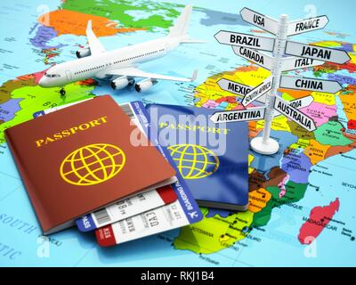 Travel or tourism concept. Passport, airplane, airtickets and destination sign on the map. 3d. - Stock Photo