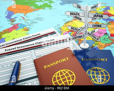 Travel insurance application form, passport and sign of destination on the map. DOF effect. 3d. - Stock Photo