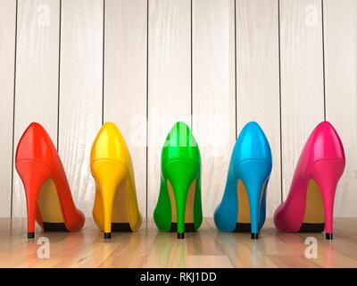 Shopping concept. Choice of colored high heels shoes on white wood background. 3d. - Stock Photo
