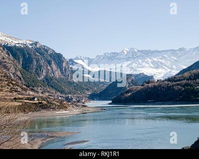 Lanuza reservoir in Huesca Spain in Summer. - Stock Photo