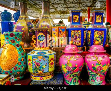 Old Chinese Design Large Colorful Ceramic Vases Pots Panjuan Flea Market Beijing China. Panjuan Flea Curio market has many fakes, replicas and copies - Stock Photo