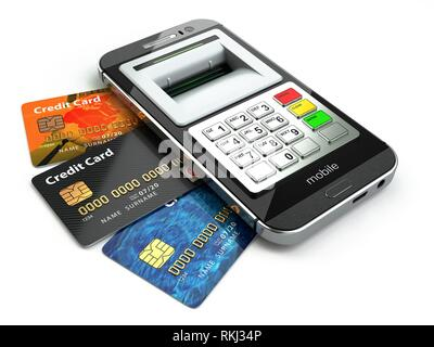 Mobile banking concept. Smartphone as ATM and credit cards. 3d. - Stock Photo
