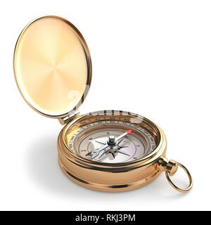 Gold compass on white isolated background. 3d. - Stock Photo
