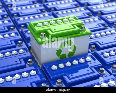Car battery recycling. Green energy. Background from accumulators. 3d. - Stock Photo