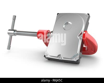 Data compression concept. Hard disk drive in vise. 3d. - Stock Photo