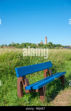 Bench with cornfield at Cape Arkona and Schinkelturm tower with the new lighthouse in the background, Putgarten, Rügen, Mecklenburg-Vorpommern, - Stock Photo