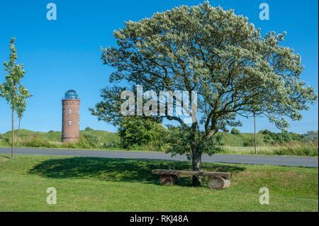 Landscape with former Marinepeilturm tower at Cape Arkona, Putgarten, Rügen, Mecklenburg-Vorpommern, Germany, Europe. - Stock Photo