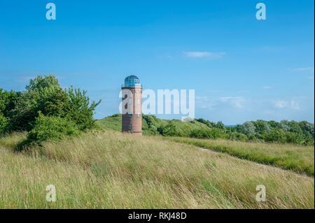 Former Marinepeilturm tower and slavic castle rampart at Cape Arkona, Putgarten, Rügen, Germany, Europe. - Stock Photo