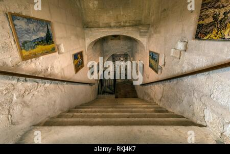 St Remy de Provence, Bouches du Rhone, France, 06. 23. 2018. The central staircase leading to Van Goghâ.s room in the monastery of St. Paul de - Stock Photo