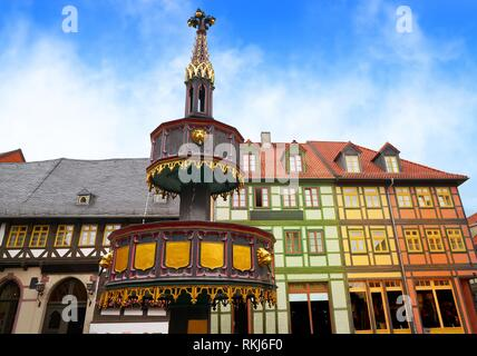 Wernigerode fountain in Harz Germany at Saxony Anhalt. - Stock Photo