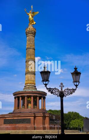 Siegessaule Victory column in Berlin Germany. - Stock Photo