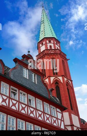 Frankfurt Roemerberg square Old city historic center in Germany. - Stock Photo