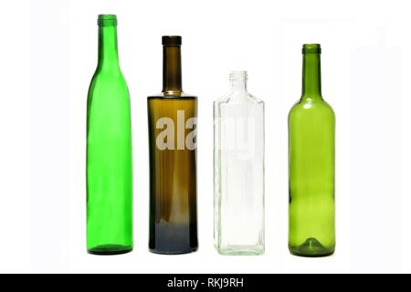 group of bottles isolated on white. - Stock Photo