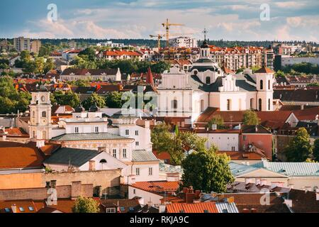 Vilnius, Lithuania. View Of Dominican Church Of Holy Spirit In Old Town In Summer Day. UNESCO World Heritage. - Stock Photo