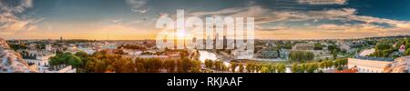 Vilnius, Lithuania. Sunset Sunrise Dawn Over Cityscape In Evening Summer. Beautiful Panorama Of Modern Office Buildings Skyscrapers In Business - Stock Photo