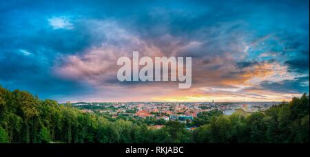 Vilnius, Lithuania. Panorama Of Old Town Historic Center Cityscape Under Dramatic Sky In Summer Sunset. Destination Scenic. UNESCO World Heritage. - Stock Photo