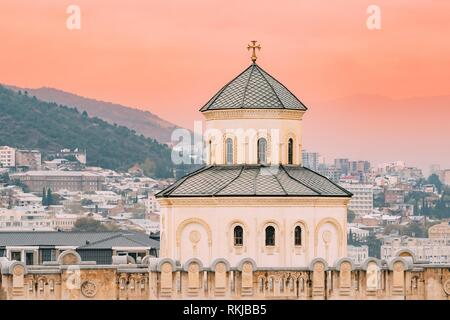 Exterior Of The Holy Trinity Cathedral of Tbilisi, Georgia. Sameba is the main cathedral of the Georgian Orthodox Church. - Stock Photo