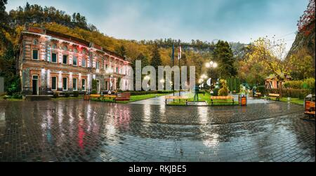 Borjomi, Samtskhe-Javakheti, Georgia. Panorama Of Famous Local Landmark Is City Park At Autumn October Evening. - Stock Photo