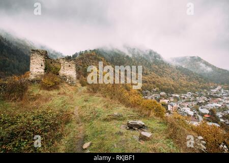 Borjomi, Samtskhe-Javakheti, Georgia. Famous Local Landmark Is Gogia Fortress And Cityscape Of Resort City In Autumn October Day. - Stock Photo