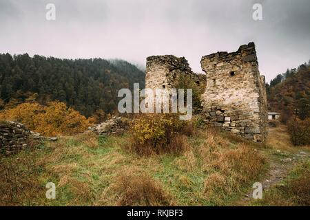 Borjomi, Samtskhe-Javakheti, Georgia. Famous Local Landmark Is Gogia Fortress In Autumn October Day. - Stock Photo