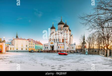 Tallinn, Estonia. Morning View Of Alexander Nevsky Cathedral. Famous Orthodox Cathedral Is Tallinn's Largest And Grandest Orthodox Cupola Cathedral. - Stock Photo