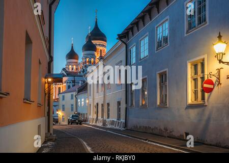 Tallinn, Estonia. Evening Or Night View Of Alexander Nevsky Cathedral From Piiskopi Street. Orthodox Cathedral Is Tallinn's Largest And Grandest - Stock Photo