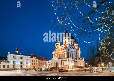 Tallinn, Estonia. Evening View Of Alexander Nevsky Cathedral. Famous Orthodox Cathedral. Popular Landmark And Destination Scenic. UNESCO World - Stock Photo