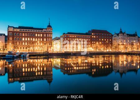 Helsinki, Finland. View Of Pohjoisranta Street In Evening Or Night Illumination. - Stock Photo