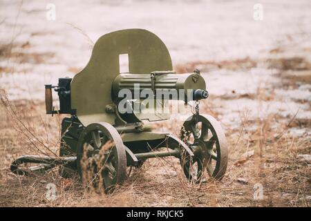 Maxim's machine gun model 1910/30 on a wheeled Vladimirov's mount. PM M1910 was a heavy machine gun used by the Imperial Russian Army during WW I and - Stock Photo