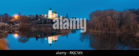 Gomel, Belarus. Panorama Of Church Of St Nicholas The Wonderworker In Lighting At Evening Or Night Illumination. Landscape With Orthodox Church Of - Stock Photo