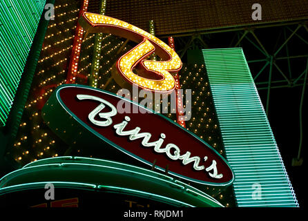 Las Vegas, Nevada - July 06 2009: The neon sign illuminated above the entrance of Binion's Horseshoe Casino in the world famous Freemont Street. - Stock Photo
