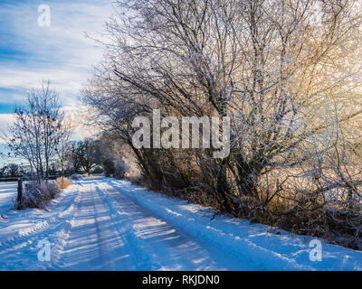 A narrow country lane in the snow. - Stock Photo