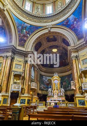 Bergamo, Italy - January 4, 2019. Nave of the Chiesa Prepositurale di Santa Maria Immacolata delle Grazie church. Bergamo, Lombardy, Italy. - Stock Photo