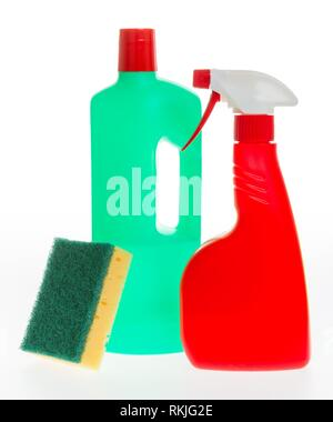 House cleaning product. Plastic bottles with detergent and sponge isolated on white background. - Stock Photo