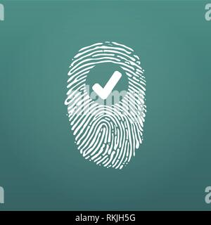 Fingerprint Success Icon, thumbprint with checkmark. vector illustration isolated on modern background - Stock Photo