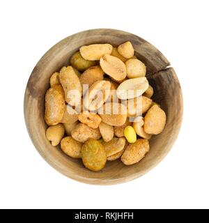 Fresh mixed salted nuts in a bowl, peanut mix, isolated on white. - Stock Photo