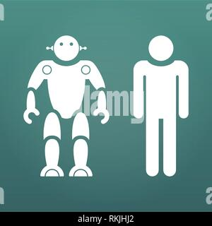 Humans vs Robots white icons. Concept business illustration. Vector illustration isolated on modern background - Stock Photo
