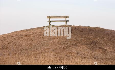Wooden bench in a public park, the Netherlands. - Stock Photo