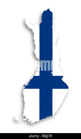 Map of Finland filled with flag, isolated. - Stock Photo