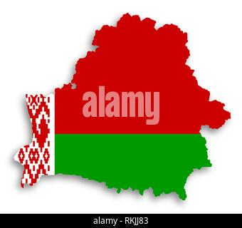 Map of Belarus filled with flag, isolated. - Stock Photo