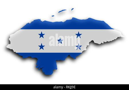 Country shape outlined and filled with the flag, Honduras. - Stock Photo