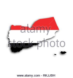 Map of Yemen filled with the national flag. - Stock Photo