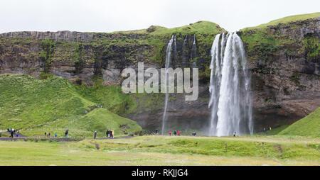 The most famoust Icelandic waterfall - Seljalandsfoss - Detail. - Stock Photo