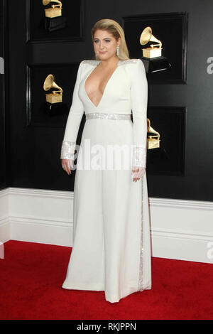 Los Angeles, California, USA. 10th Feb, 2019. Meghan Trainor arrives for the 61st Annual GRAMMY Awards held at Staples Center. Credit: AdMedia/ZUMA Wire/Alamy Live News - Stock Photo