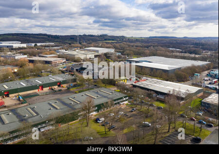 An aerial view of a typical Industrial Estate on the outskirts of a British Town in Worcestershire. - Stock Photo