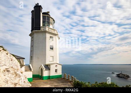 The lighthouse on St Anthony Head on Cornwall's Roseland Peninsula. - Stock Photo