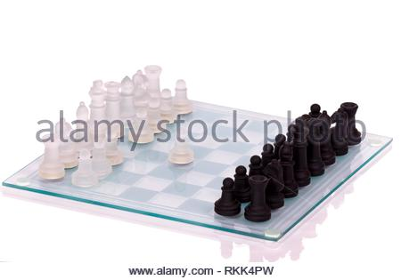 glass chess on a white background. - Stock Photo