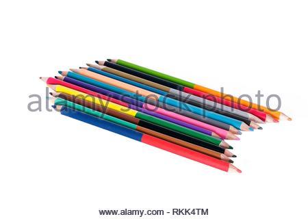 Colored pencils twenty four colors. - Stock Photo